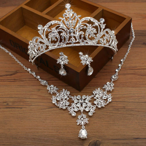 Bridal Accessories Wedding Jewelry Set Rhinestone Necklace Earrings Tiara Crown