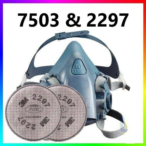 3M 7503 Half Facepiece Respirator W/ 1 Pair 2297 Advanced P1OO Filters, LARGE Business & Industrial