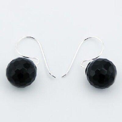hook earrings 925 sterling silver faceted black agate gemstone beads 12mm sphere