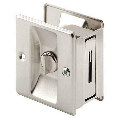 Prime-line Products N 7239 Pocket Door Privacy Lock With Pull Satin Nickel