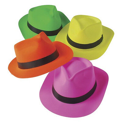 Neon Colored Fedora Hats Costume Party Accessory (BULK LOT OF - Costume Fedora Hats