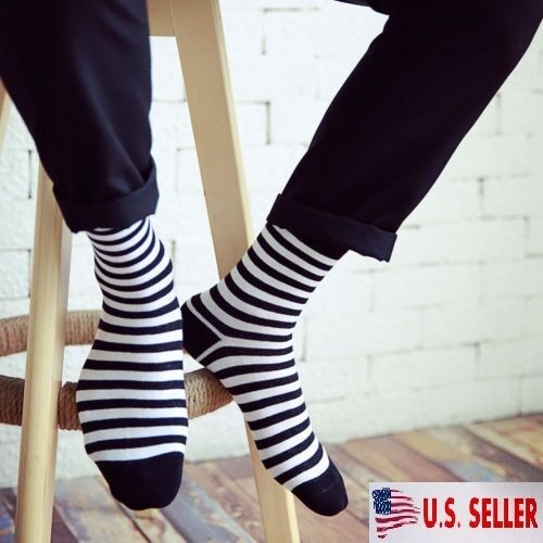 NEW! 5 Pairs Mens Socks Cotton Warm Classic Black and White