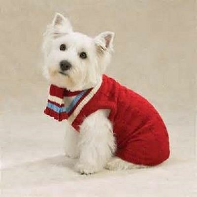 Zack & Zoey Dog Cable Knit Varsity Sweater w/ Scarf Acrylic RED