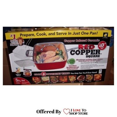 """Red Copper Chef 10"""" Square 5-Pc Nonstick Oven Safe Cookware Set - FREE Shipping"""