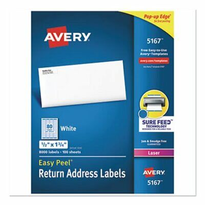 Avery 5167 White Return Address Labels 12 X 1-34 8000 Labels Ave5167