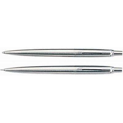 PARKER - Jotter Ballpoint Pen & .5mm Pencil Set - STAINLESS STEEL - New