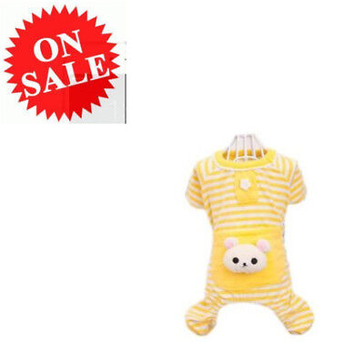 Striped Clothes Yellow Pajamas Coat Apparel Clothing For Cute Small Pet Dog Cat