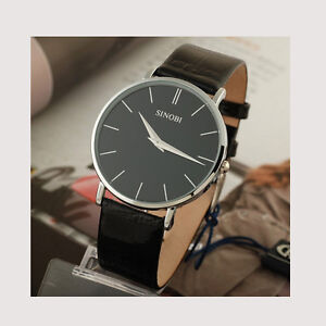 New Fashion Mens Watches Leather Ultra-thin Case Quartz Wrist Watch Black White