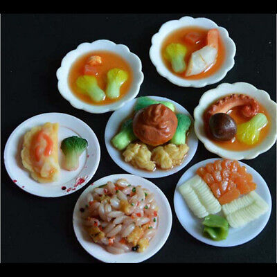33 Pcs Dollhouse Miniatur Geschirr Kunststoff Teller Gerichte Mini FoodAB