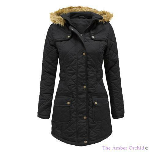 Womens Quilted Hooded Coat Ebay