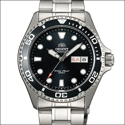 Orient Black RAY II Automatic, Hand Wind, Hacks, Dive Watch #AA02004B, FAA02004B