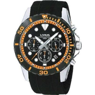 Lorus Gents Black Rubber Chronograph Mens Watch RT367BX9