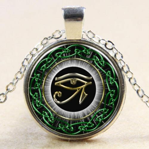 New Egyptian Eye of Horus Ra Udjat Glass Art Pendant Chain Amulet Pagan Necklace