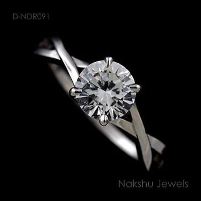 1Ct White Round Moissanite 2 Shank Solitaire Engagement Ring
