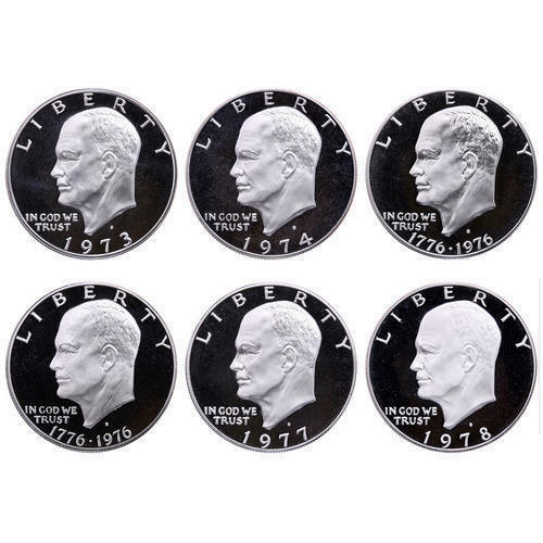 1973-1978 S Eisenhower Dollar DCam Proof Run CN-Clad Ike Lot US Mint 6 Coin Set