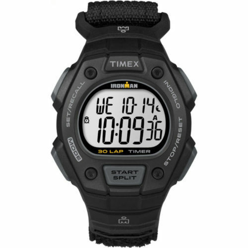 Timex Men's Ironman Classic 30 Black Watch, Fast Wrap Velcro