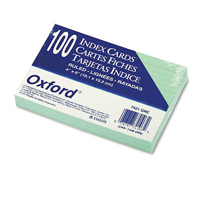 Oxford Ruled Index Cards 4 X 6 Green 100pack