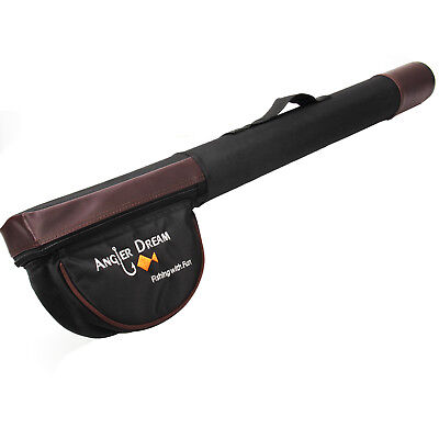 Fly Fishing Rod Cases - Triangle Cordura Fly Fishing Rod Tube 77 / 65cm Black and Brown Fly Rod Case