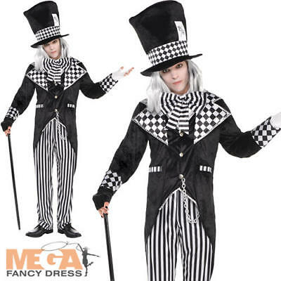 Dark Mad Hatter Mens Fancy Dress Halloween Fairytale Evil Horror Adults Costume  - Evil Mad Hatter