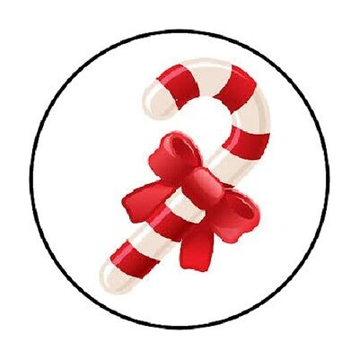 48 CHRISTMAS RED WHITE CANDY CANE ENVELOPE SEALS LABELS STICKERS 1.2