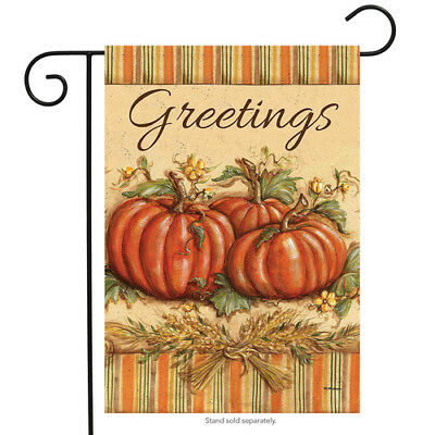 BRIARWOOD LANE Sleeved Garden Flag 12.5x18 FALL GREETINGS Pumpkins Wheat NEW