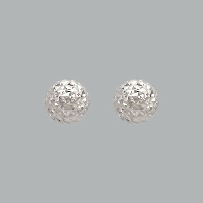 NEW 14K WHITE GOLD LADIES GIRLS DIAMOND CUT EARRINGS HALF BALL