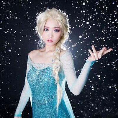 Frozen Prinzessin Elsa Gold Lang Haar Zopf Cosplay Kostüm Perücken Eisk?nig er