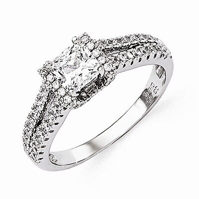 STERLING SILVER BRILLIANT EMBERS PRINCESS CUT SQUARE CZ RING   SIZE 8 ()