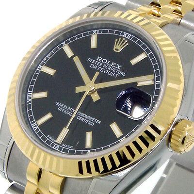 ROLEX 178273 MID SIZE 31 mm STEEL 18K YELLOW GOLD DATEJUST JUBILEE BLACK STICK