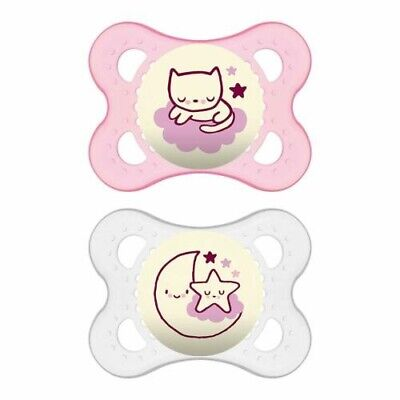 2 - MAM PINK GLOW IN THE DARK PACIFIERS - NIGHT COLLECTION - 0-6 MONTHS