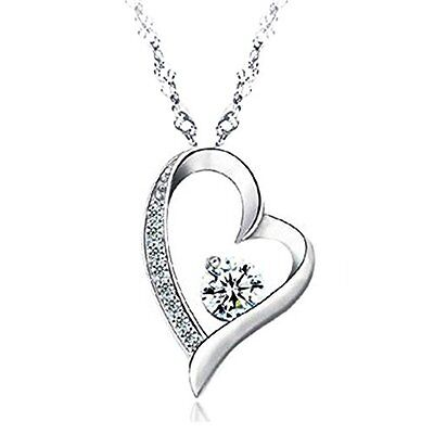 14K White Gold Sterling Silver Lover Heart Pendant Necklace Jewelry Women Lady
