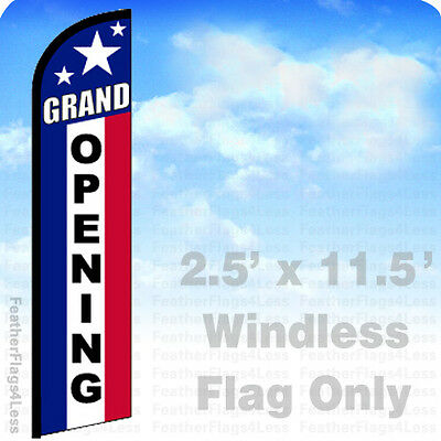 Grand Opening - Windless Swooper Feather Flag Banner Sign 2.5x11.5 - Stars F
