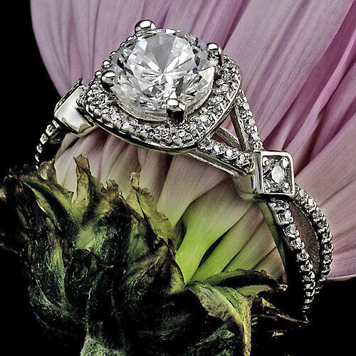 1.76 CT ROUND CUT DIAMOND HALO ENGAGEMENT RING 14K WHITE GOLD