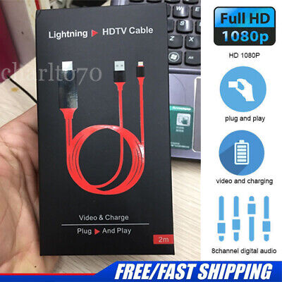 Lightning to HDMI CABLE-iPhone iPad Screen To TV Cable HDMI 1080p USB Charger UK