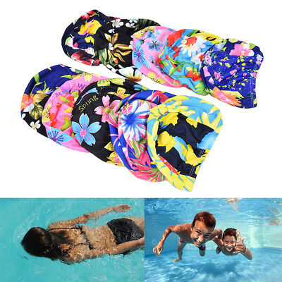 Women Floral Waterproof Spandex Stretch Swimming Cap Bathing Hat FadHICA