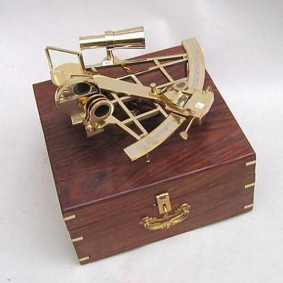 "10"" SEXTANT BRASS IN WOODEN BOX ~ NAUTICAL ~ MARITIME DECOR ~ PIRATE ~  SEXTANT"