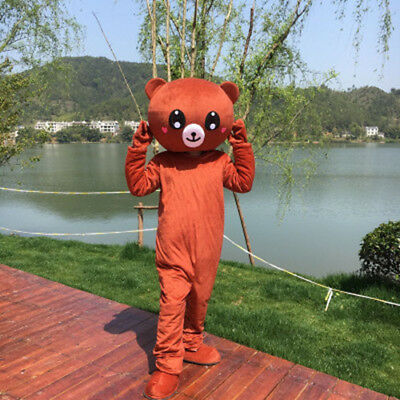 Unisex Brown Teddy Bear Mascot Costume Suit Cosplay Party Halloween Outfit Dress (Bear Suit Costume)