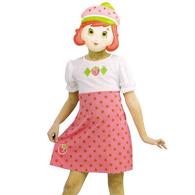 STRAWBERRY SHORTCAKE COSTUME DRESS w/ MASK ~ Birthday Party Supplies Size 2-4