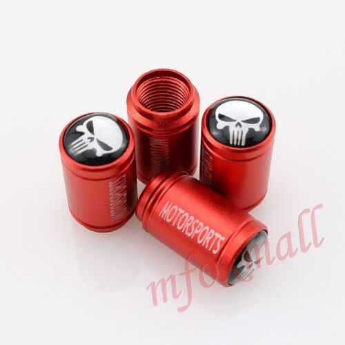 Red Car Air Wheel Rim Cover Tyre Tire Valve Stem Cap Skull Head Emblem Accessory