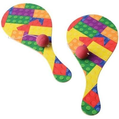 12 Building Block Brick Paddle Balls Kid Birthday Party Goody Bag Favor Game Toy
