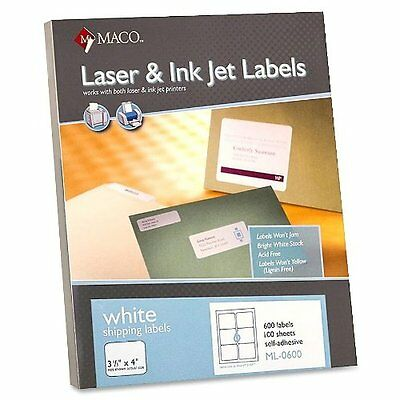 Maco - Shipping Labels 3-13x4 600bx White Sold As 1 Box Mac Ml0600
