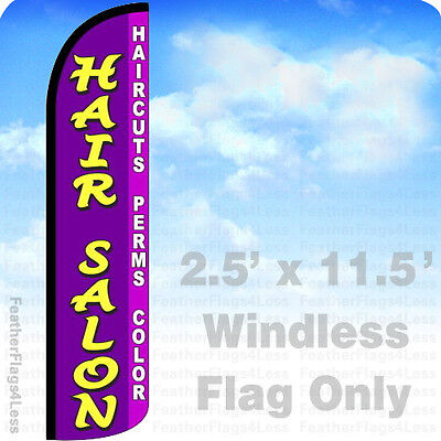Hair Salon Haircuts Perms Color - Windless Swooper Feather Flag 2.5x11.5 Sign Pz