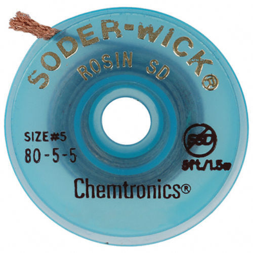 1 Roll Chemtronics Soder Wick #5 80-5-5 5 Ft. 1.5m Desoldering NEW SAVE!