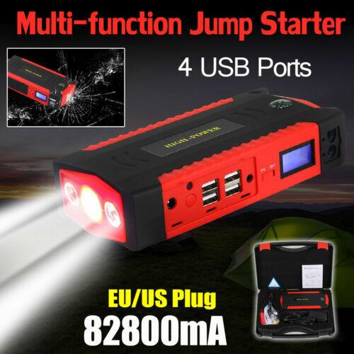 12V 82800mAh 4 USB Car Jump Starter Power Bank Charger Booster Emergency Battery
