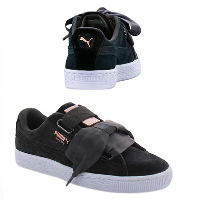Puma Suede Heart Velvet Rope Womens Trainers Lace Up Shoes Black 365111 02 D84