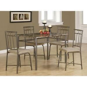 Transitional 5-Piece Dining Set - Bronze/ Espresso Brown