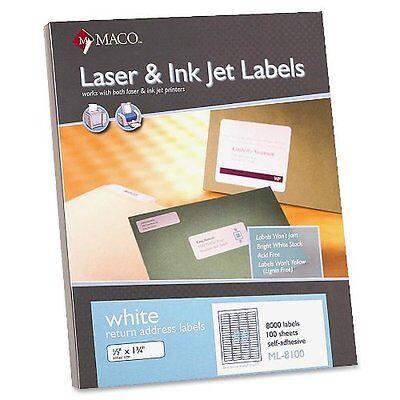 Maco - Return Address Labels 12x1-34 8000bx White Ml8100