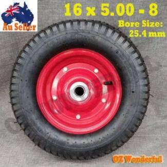 "16""X5.0-8 1"" 25.4mm Bore Wheelbarrow Wheel Barrow Trolley Trailer"
