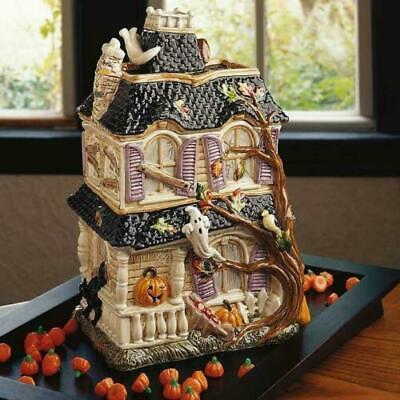 Halloween Harvest Haunted House Pumpkin Witch Black Cat Cookie Jar
