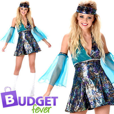70s Womens Fancy Dress Disco Diva Funky Groovy 1960s Ladies Costume Outfit New